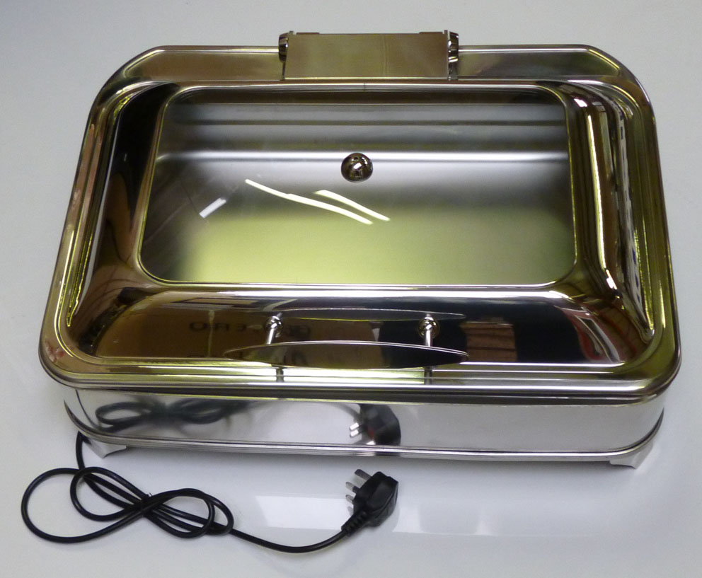 Display Electric Chafing Dish Oblong GN 1/1 size soft close lid