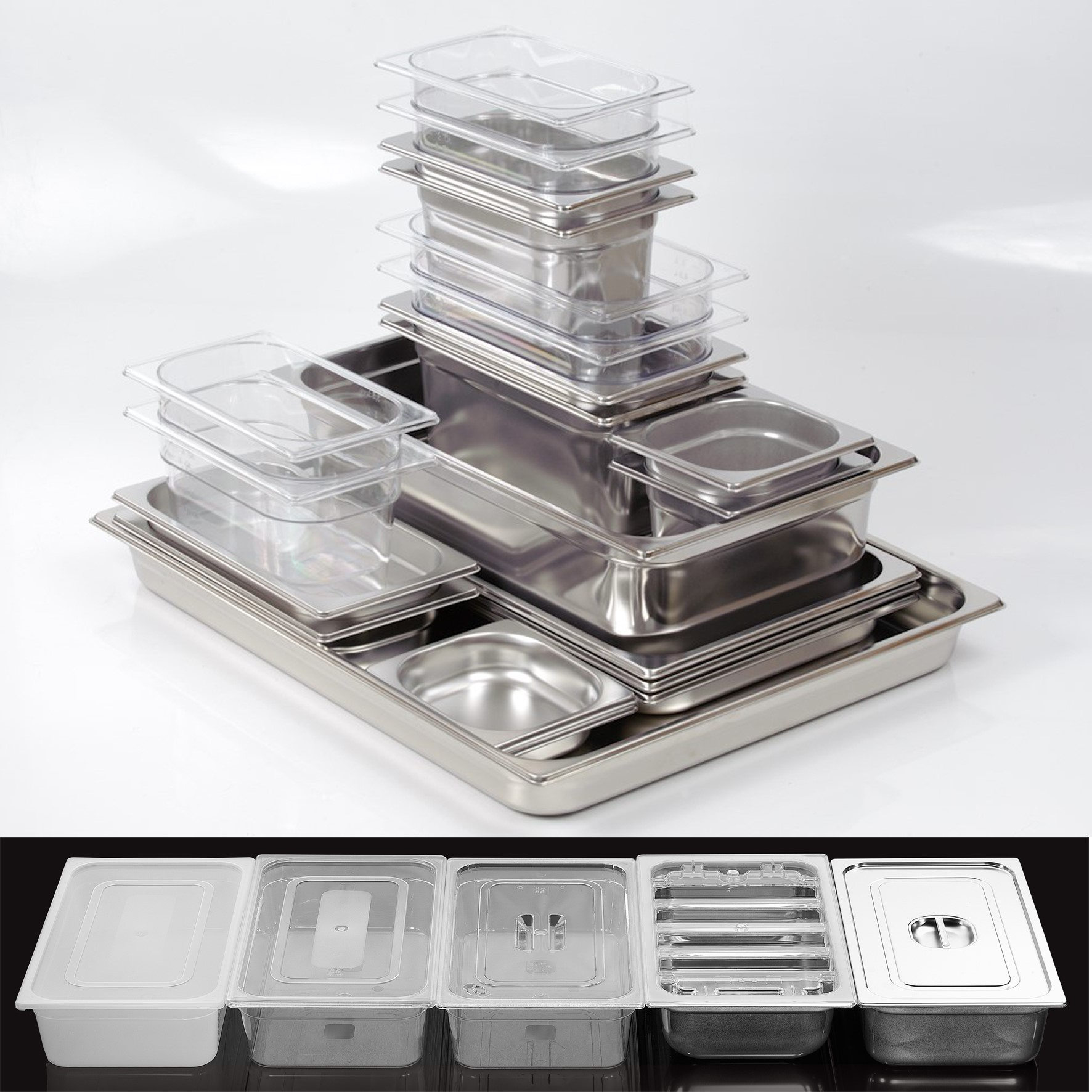 Gastronorm containers  EN631 in S. Steel & poly. over 320 sizes