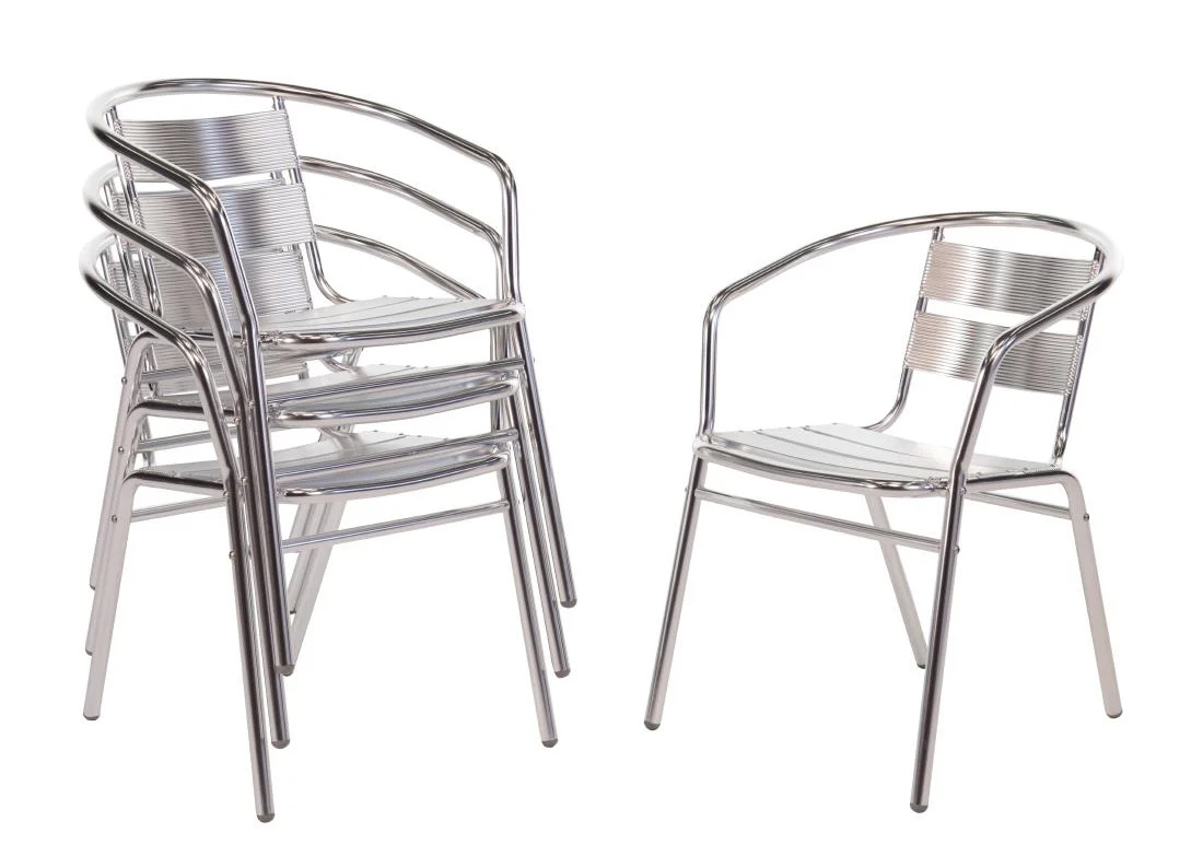 Aluminium Bistro style chairs - Pack of 4