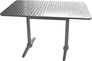 Double pedestal table 120 x 60cm stainless steel tables for Table exterieur aluminium anodise