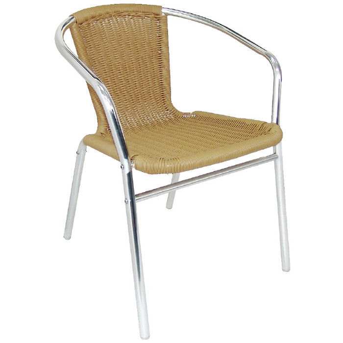 Aluminium and Natural Wicker Chair - Pack of 4