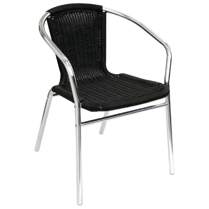 Aluminium and Black Wicker Chair - Pack of 4