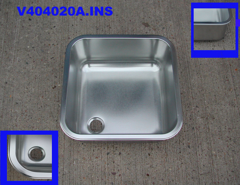 Sink stainless steel Insert 400 mm x 400 mm x 200 mm deep square