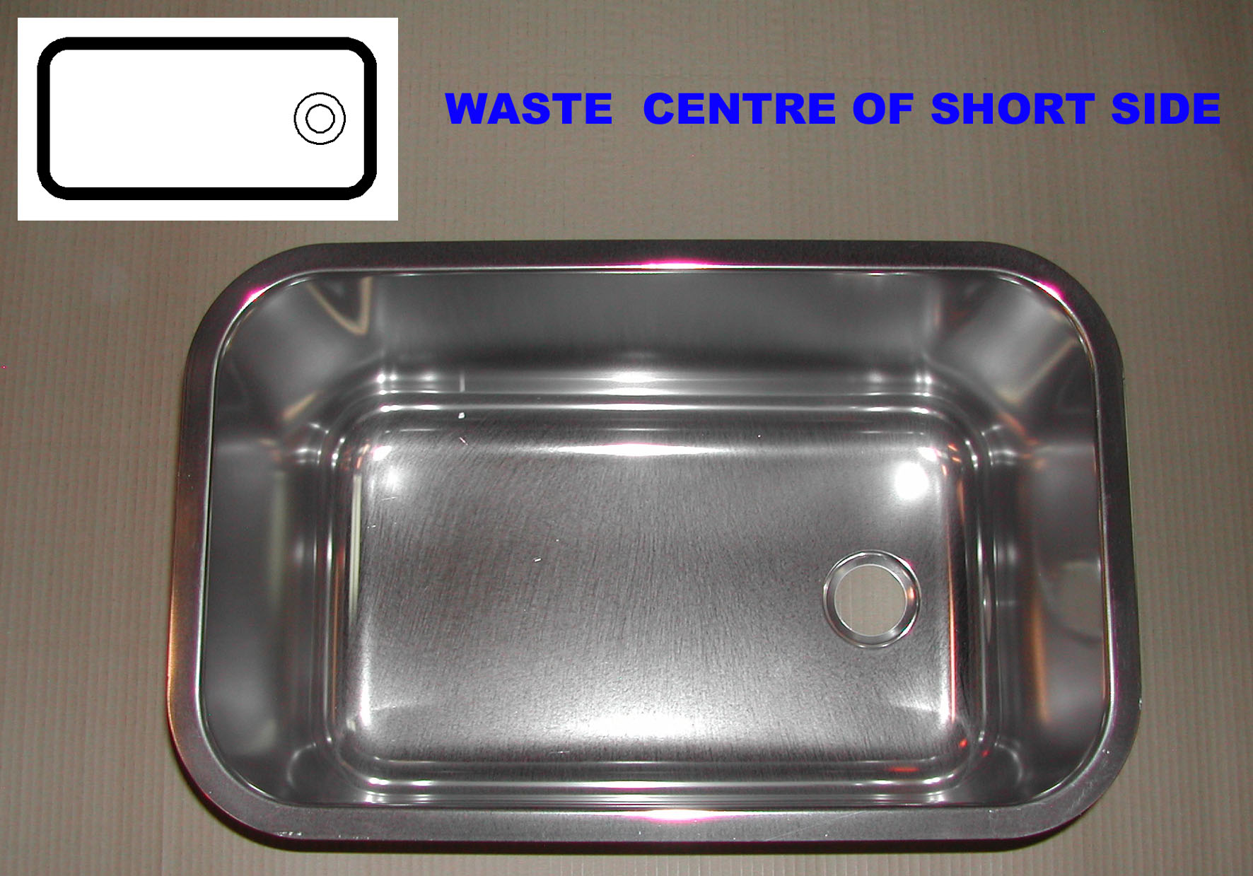 Oblong Sink 500 x 300 x 300mm deep ( Waste Hole In The Centre Of