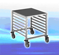 Trolley Gastronorm 1/1 size 7 levels with worktop stainless stee