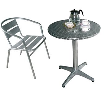 Table & 4 x Chairs - Cafe/Bistro style aluminium and stainless (