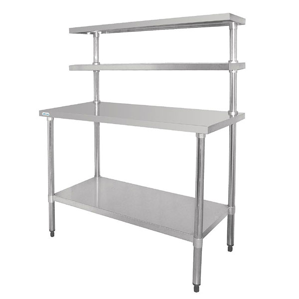 Stainless Steel Table with Double Gantry Shelves. ( 1200mm Wide