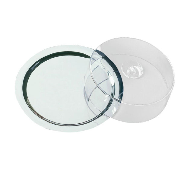 Round Tray. (Stainless Steel with Cover, 38cm diameter)