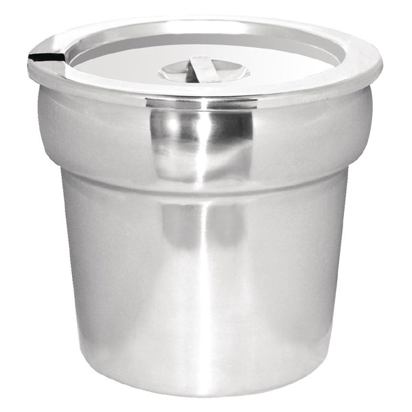 Round pot stainless steel bains marie pot and lid with 7 litre c
