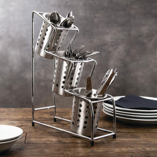 Self Service Cutlery Holder ( 3 Compartment Pots Included )