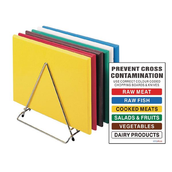 Chopping board sets incs chart and stand