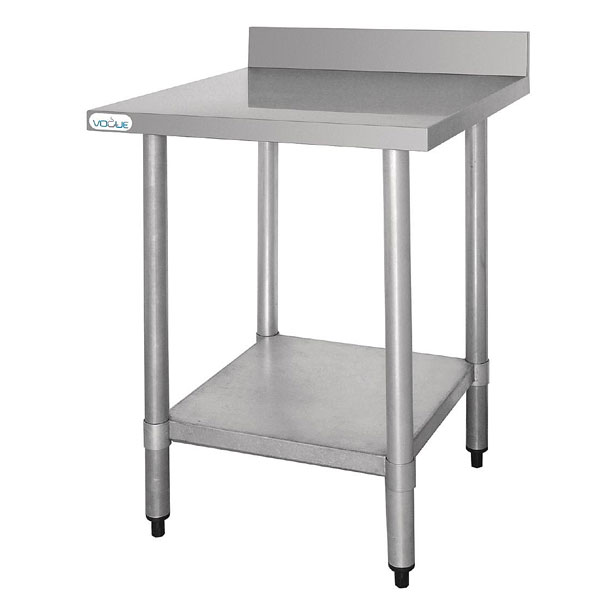 Vogue Stainless Steel Prep Table with 60mm Upstand 900mm Width.