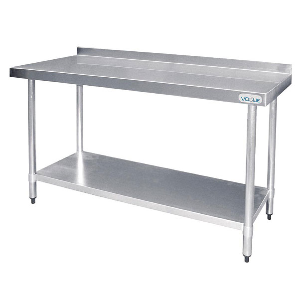 Vogue Stainless Steel Prep Table with 60mm upstand. 1200mm Width