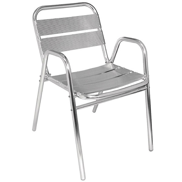 Aluminium Chair with arched arms. Box quantity 4.