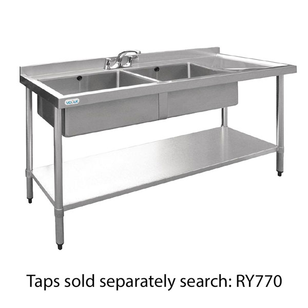 Double Bowl Stainless Steel Sink - 1500 x 600mm Right Hand Drain