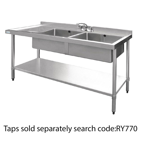Double Bowl Stainless Steel Sink - 1500 x 600mm Left Hand Draine