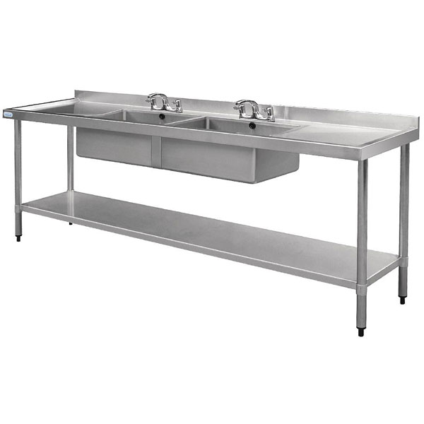 Sink Unit - Double Drainer Double Bowl 2400 x 600 (sinks)