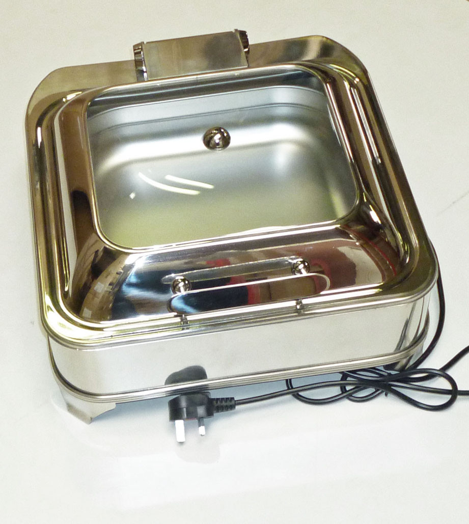 Display Electric Chafing Dish Square  GN 2/3 size soft close lid
