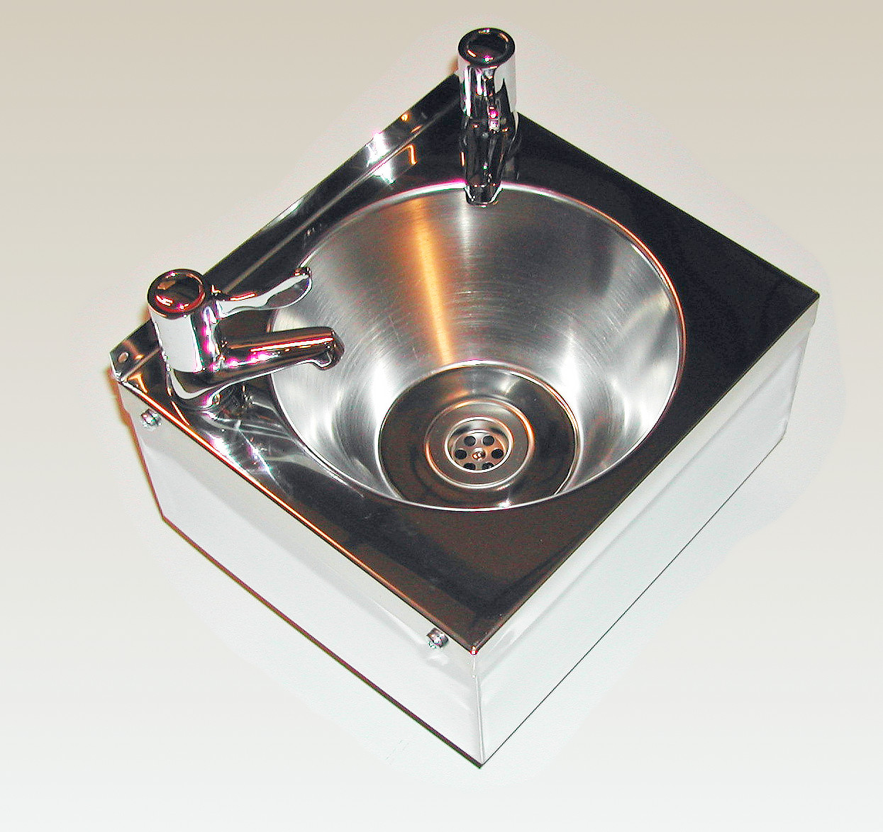 Wall Hung Wash Basin with Lever Taps and Waste - Stainless (sink