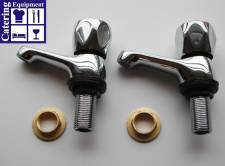 Twin contemporary basin taps
